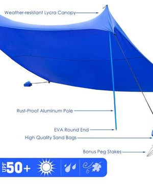 10' x 9' Family Beach Tent Canopy Sunshade w/ 4 Poles-Blue