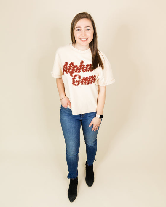 Alpha Gam Short Sleeve Corded Crew