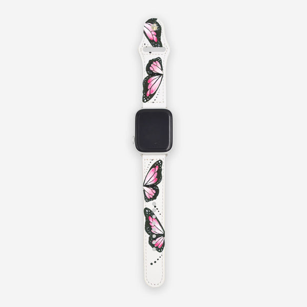 Customized Apple Watch Pink Butterfly