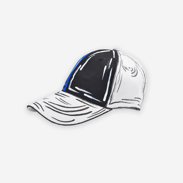 Customized Cap Black And Blue Cartoon Sketched