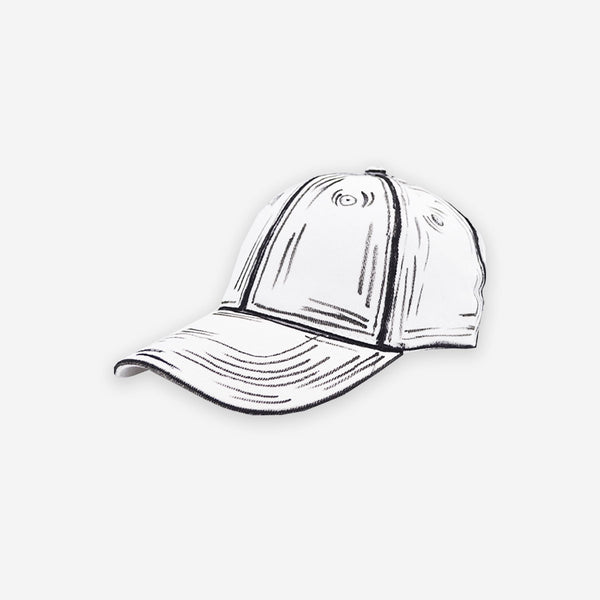 Customized Cap White Cartoon Sketched