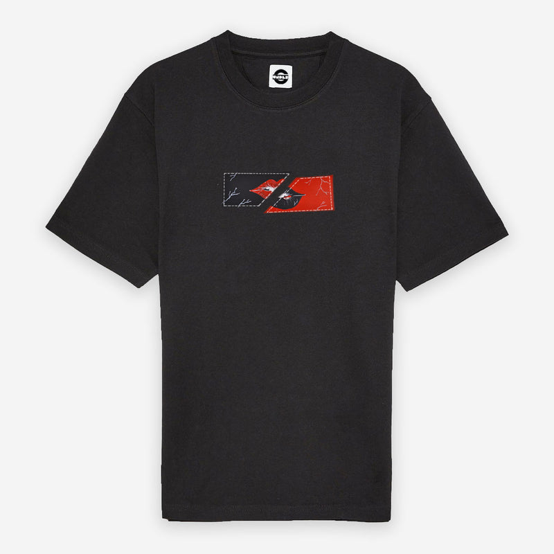 Customized T-Shirt Box Logo Black And Red Lips
