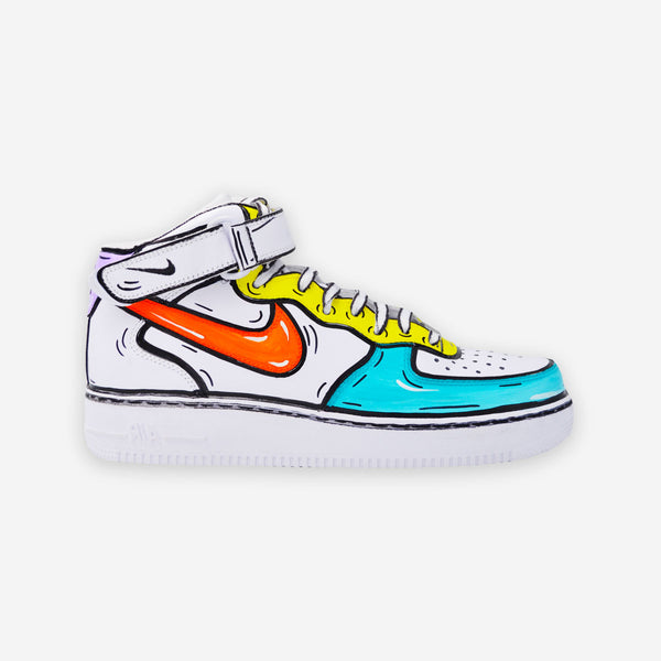 Customized Air Force 1 Mid Cartoon Sketched