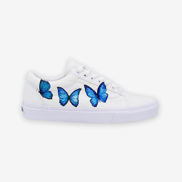 Customized Old Skool White Blue Butterfly