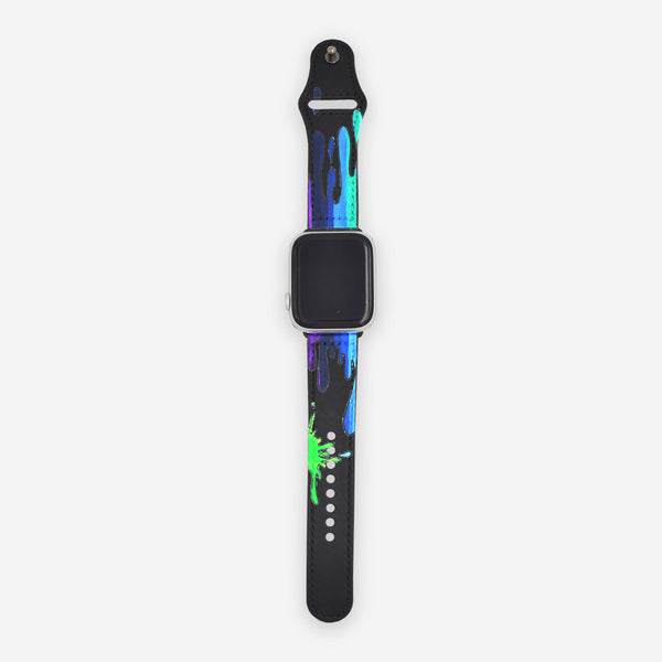 Customized Apple Watch Band Black Multicolor Drip