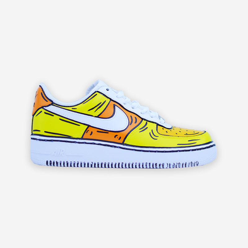 Customized Air Force 1 Yellow Cartoon Sketched