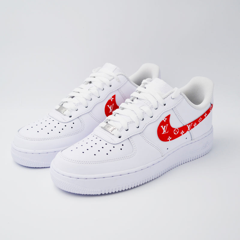 Customized Air Force 1 LV Swoosh Red