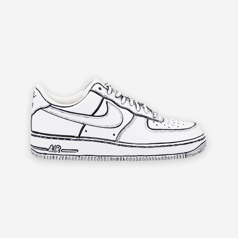 air force 1 disegnate bianche e nere