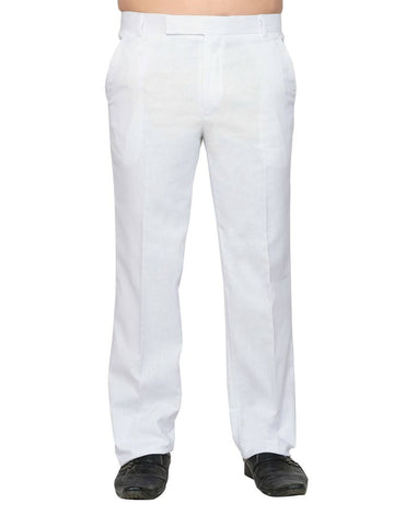 White Linen Regular Fit Formal Trousers