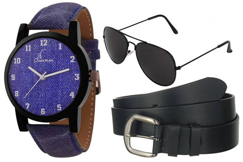Fully Denim Finish Analog Wrist Watch With  Belt And Aviator Glasses