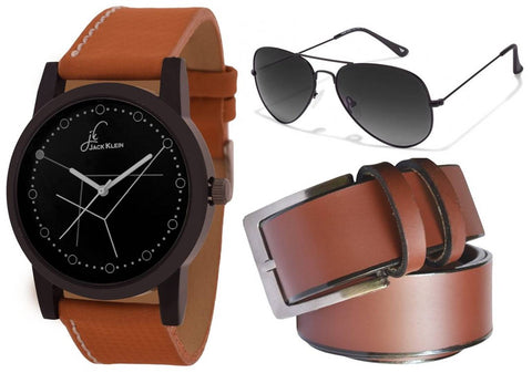 Dial  Silicone Strap Analog Watch With  Belt And Aviator Glasses