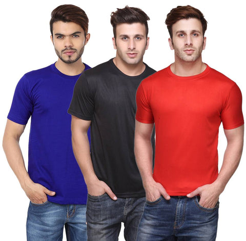 Multicoloured Polyester Blend Round Neck Dry-Fit T-Shirt (Pack Of 3)