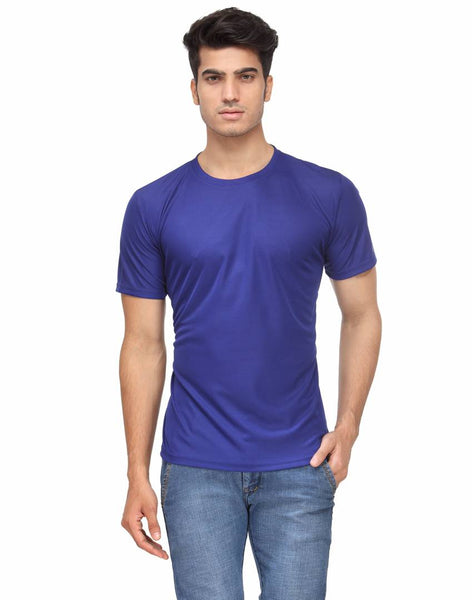 Men's Blue Solid Polyester Round Neck T-Shirt