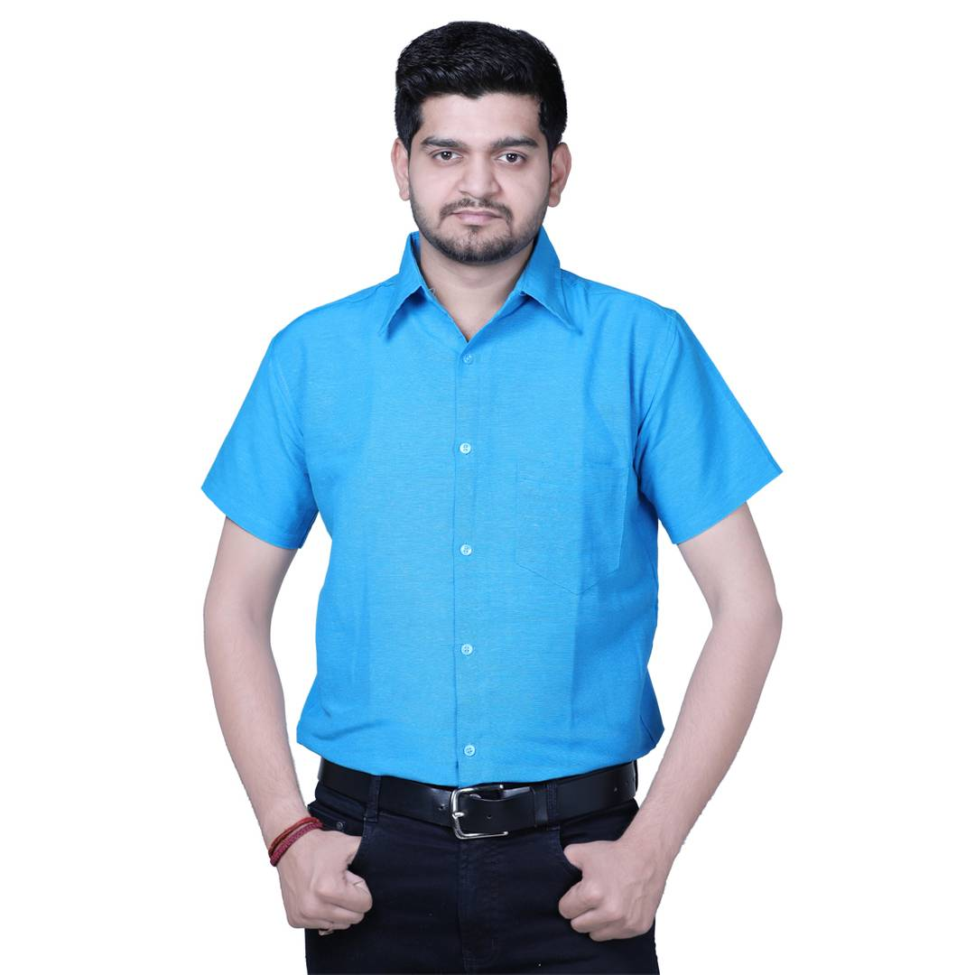 Blue Solid Cotton Regular Fit Formal Shirt for Men's