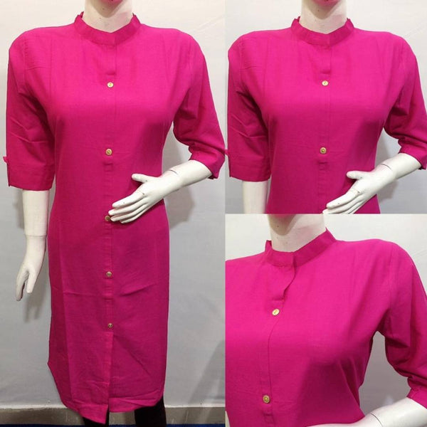 Elegant Women's Solid Cotton Slub Kurtas