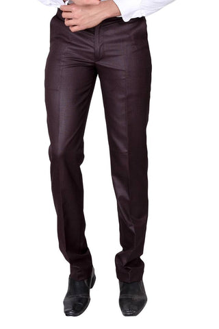 Men's Maroon Polyester Blend Solid Mid-Rise Formal Trouser