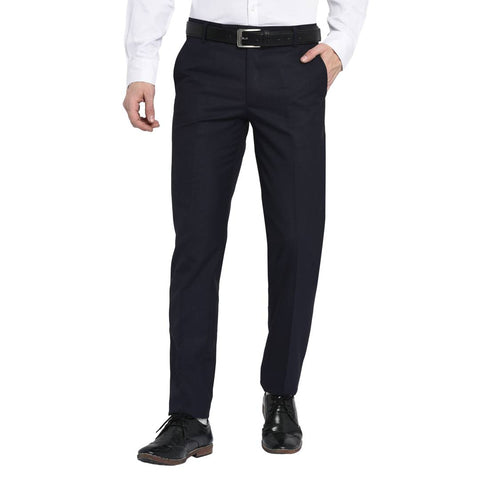 Men's Navy Blue Polyester Blend Solid Mid-Rise Formal Trouser