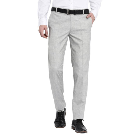 Men's Off White Polyester Blend Solid Mid-Rise Formal Trouser