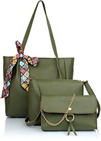 TMN GREEN COMBO OF HANDBAG WITH SLING BAG AND GOLDEN CHAIN BAG