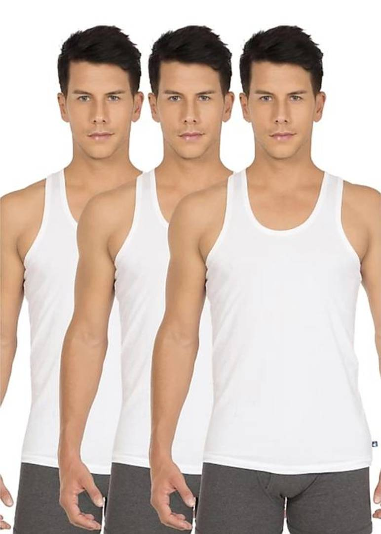 Comfy White Cotton Vest For Men (Pack of 3)