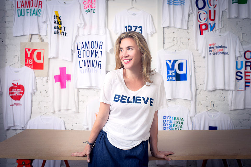 prinkshop founder pamela bell with charity graphics on t-shirts