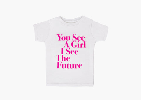 You See A Girl : Toddler & Youth Unisex Tee - White/Pink