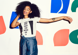 YOU ARE NOT THE BOSS OF V : Women's Activist Tee - White/Black