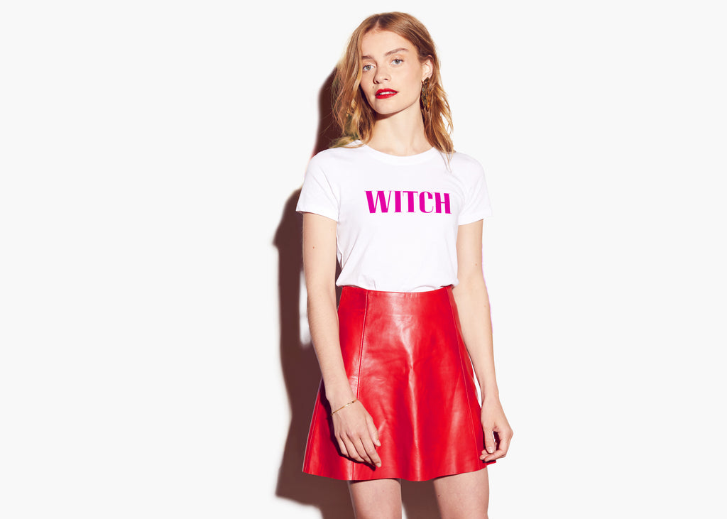 WITCH : Women's Activist Tee - White/Pink