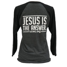 Load image into Gallery viewer, Jesus Is The Answer 3/4 Raglan Sleeve Baseball T- Shirt Black Dark Gray