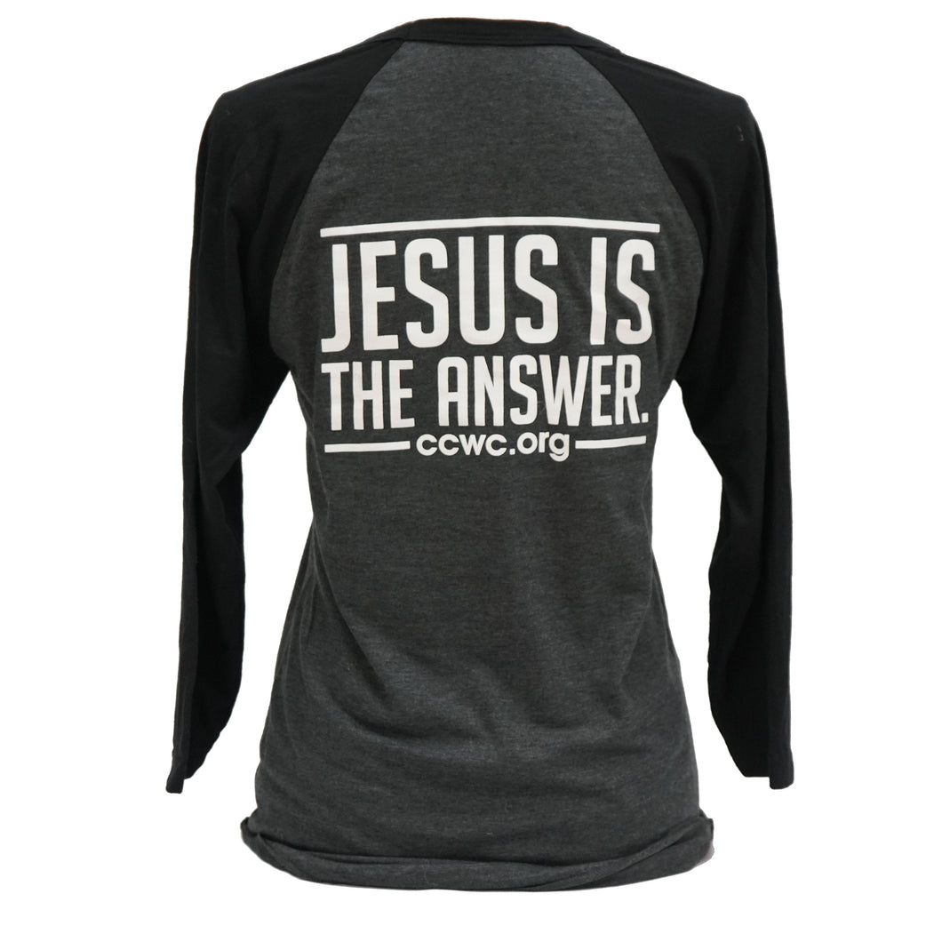 Jesus Is The Answer 3/4 Raglan Sleeve Baseball T- Shirt Black Dark Gray