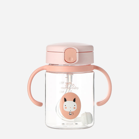 Mom & Baby Flat Top Tritan Sippy Cup 220Ml Pink Cat