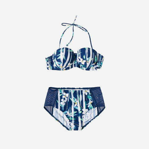 Sogo Swim Two-Piece Floral & Stripes Tie Knot Bikini Set