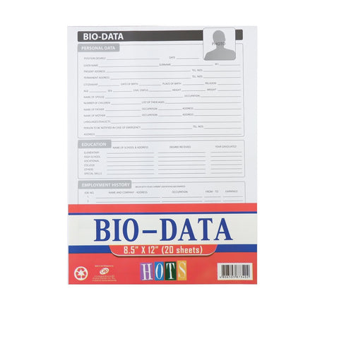 Bio Data Form 20 Sheets