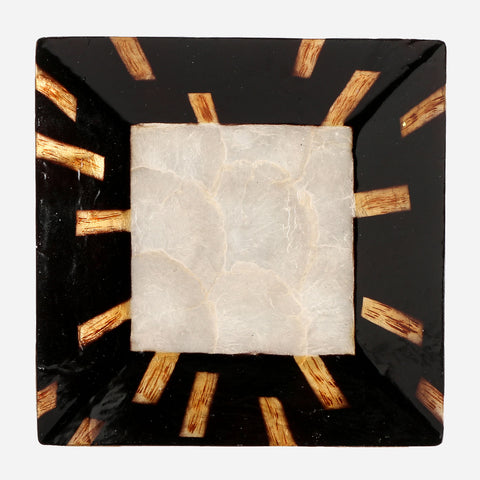Tahanan by Kultura Capiz Square Plate with Brown Stripes