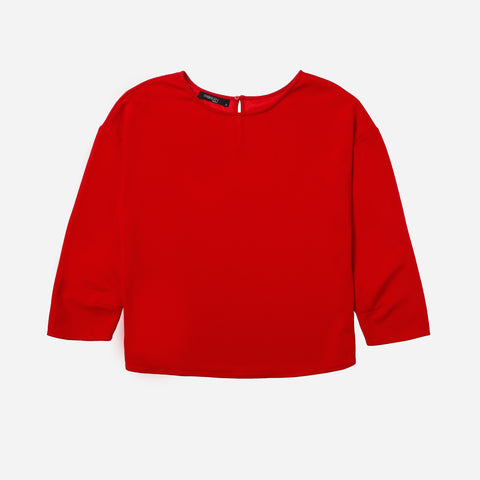 SM Woman Prima Shoulder Drop Blouse Red