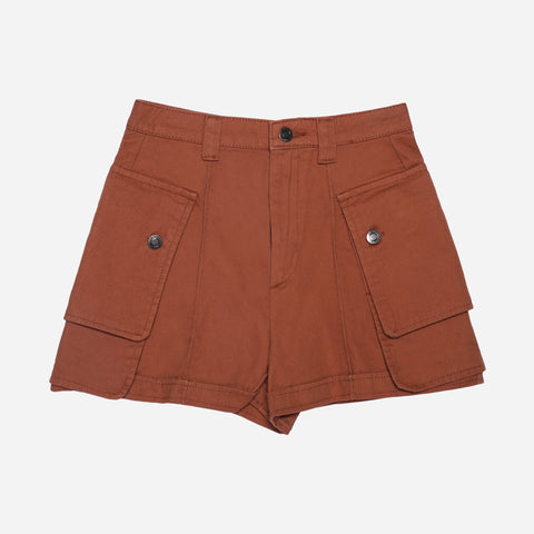 SM Woman Denim Cargo Shorts Rust