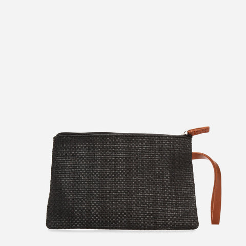 Tropiko Raffia Pouch With Leather Handle