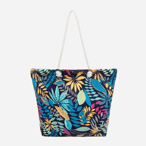Tropiko Floral Canvas Tote with Rope Straps