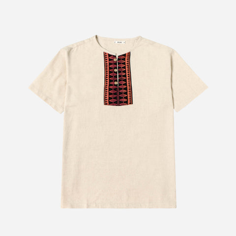 Hijo Linen Shirt with Aztec Print Panel