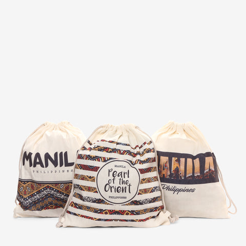Kultura Set of 3 Canvas Drawstring Bags