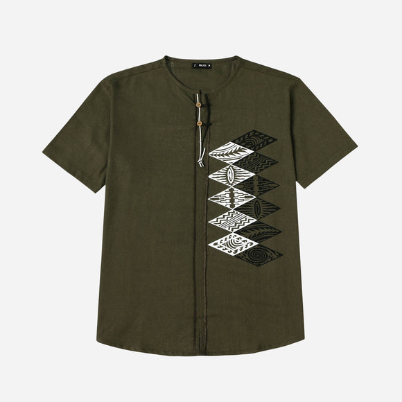 Hijo Shortsleeves Shirt with Tribal Print