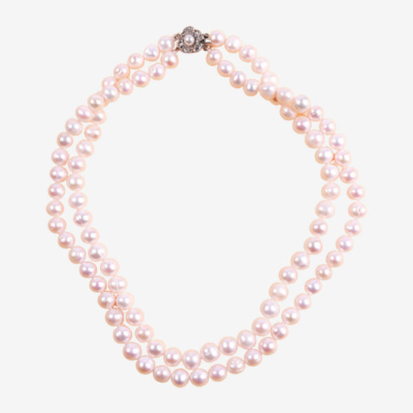 Asnie Double-Layered Peach Pearl Necklace
