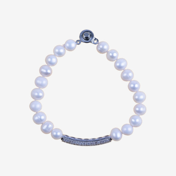 Khai Pearl Bracelet with Encrusted Charm