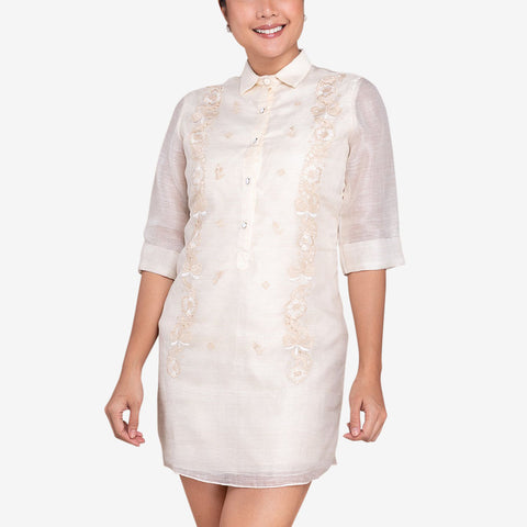 Tygie Women's Barong Dress with Floral Embroidery