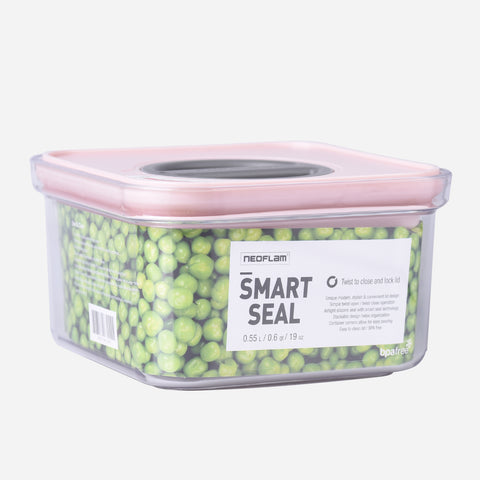 Neoflam Smart Seal Square Canister (Pink) - 0.6L
