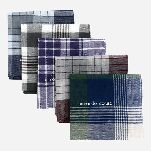 Armando Caruso Hanky Checkered 5Pcs