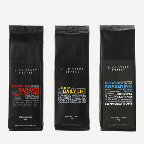 Ground Coffee Set of 3 Barako, Awakening and Daily Lift