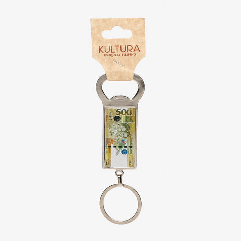 Kultura 500 Peso Bill Bottle Opener Keychain