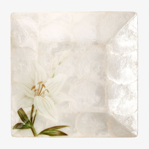 Tahanan by Kultura Capiz Square Plate White Lily Design