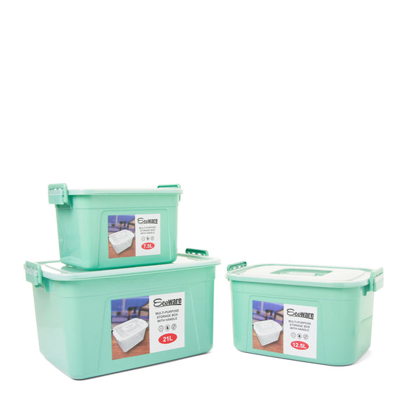 Ecoware Multipurpose Box with Handle (Set of 3) - Green